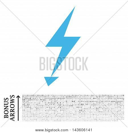 Electric Strike icon with 1200 bonus arrow and navigation pictograms. Glyph illustration style is flat iconic bicolor symbols, blue and gray colors, white background.