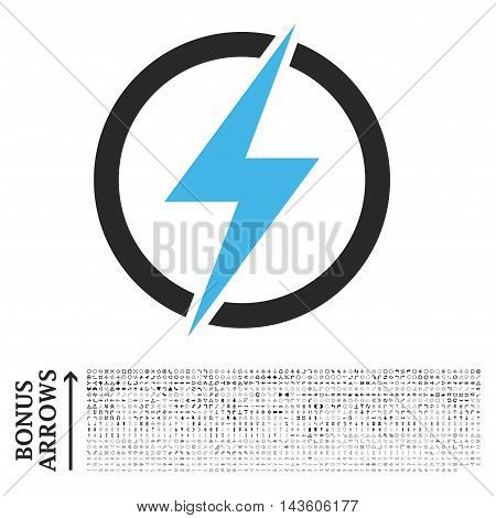Electricity icon with 1200 bonus arrow and direction pictograms. Glyph illustration style is flat iconic bicolor symbols, blue and gray colors, white background.