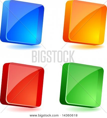 Set of 3d buttons. Vector illustration.