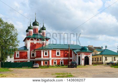 UGLICH RUSSIA - JULY 19 2016: Church of Icon of Mother of God Smolenskaya Epiphany Monastery Uglich Russia