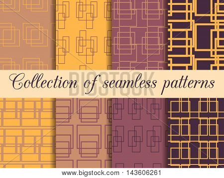 Set Seamless Patterns With Lines And Squares. The Pattern For Wallpaper, Bed Linen, Tiles, Fabrics,