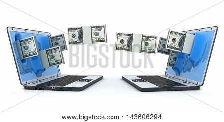 Laptop and transfer money (done in 3d rendering)