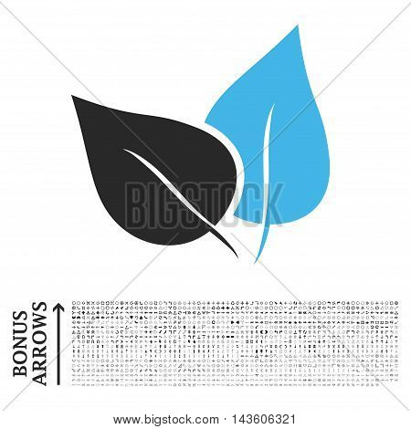 Flora Plant icon with 1200 bonus arrow and direction pictograms. Glyph illustration style is flat iconic bicolor symbols, blue and gray colors, white background.
