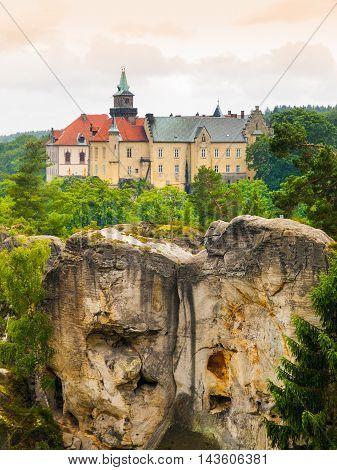 Medieval Castle Hruba Skala situated on a steep sandstone cliff in Bohemian Paradise, or Cesky Raj, Czech Republic