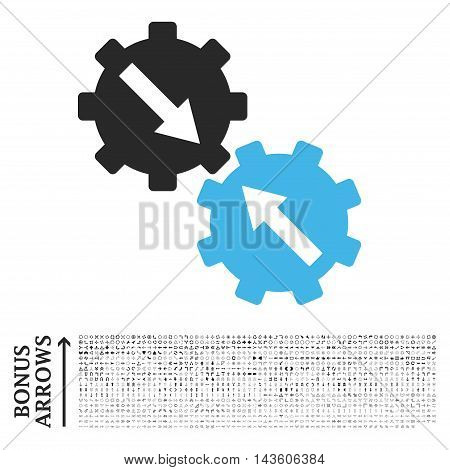 Gear Integration icon with 1200 bonus arrow and direction pictograms. Glyph illustration style is flat iconic bicolor symbols, blue and gray colors, white background.