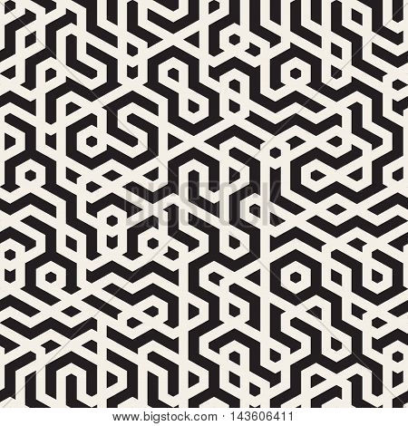 Vector Seamless Black and White Irregular maze Lines Pattern. Abstract Geometric Background Design