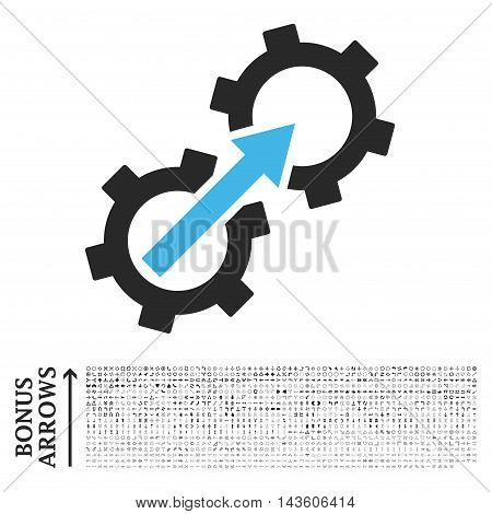 Gear Integration icon with 1200 bonus arrow and navigation pictograms. Glyph illustration style is flat iconic bicolor symbols, blue and gray colors, white background.