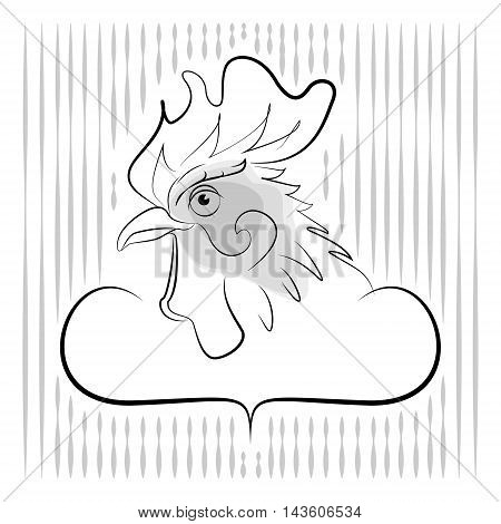 Cockerel vector black lines on a white background