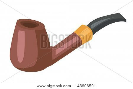 Wooden smoking pipe vector flat design illustration isolated on white background.
