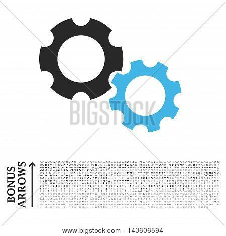 Gears icon with 1200 bonus arrow and navigation pictograms. Glyph illustration style is flat iconic bicolor symbols, blue and gray colors, white background.