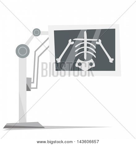 X-ray machine with image of skeleton vector flat design illustration isolated on white background.