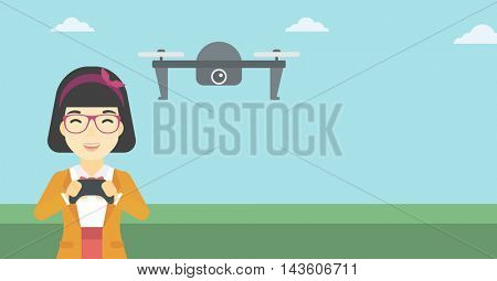 An asian woman flying drone with remote control. Happy woman operating a drone with remote control. Woman controling a drone. Vector flat design illustration. Horizontal layout.