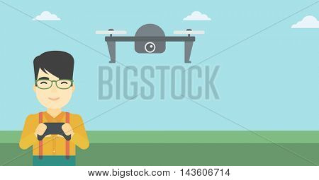An asian man flying drone with remote control. Man operating a drone with remote control. Man controling a drone. Vector flat design illustration. Horizontal layout.