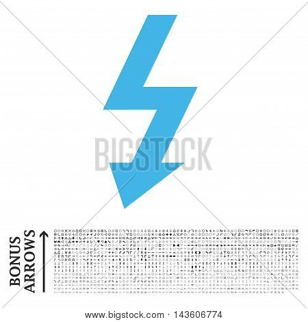 High Voltage icon with 1200 bonus arrow and navigation pictograms. Glyph illustration style is flat iconic bicolor symbols, blue and gray colors, white background.