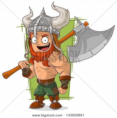A vector illustration of cartoon strong viking with big axe