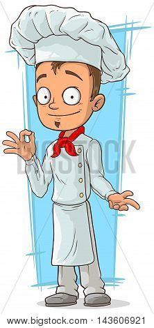 A vector illustration of cartoon young chef in white uniform