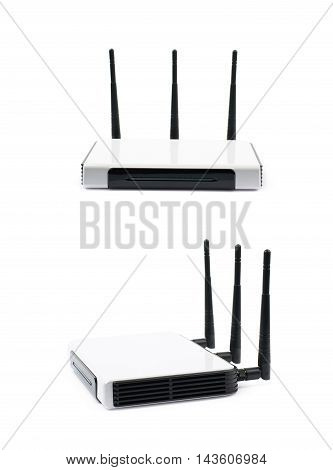 Generic Internet networking device router isolated over the white background, set of two different foreshortenings