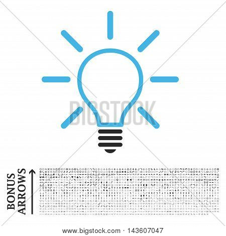 Light Bulb icon with 1200 bonus arrow and navigation pictograms. Glyph illustration style is flat iconic bicolor symbols, blue and gray colors, white background.