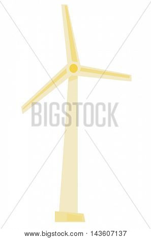 White wind turbine generating electricity vector flat design illustration isolated on white background.