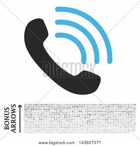 Phone Call icon with 1200 bonus arrow and navigation pictograms. Glyph illustration style is flat iconic bicolor symbols, blue and gray colors, white background.
