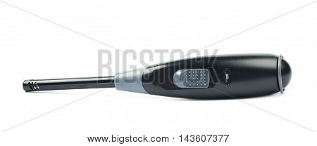 Utility long-neck black plastic lighter isolated over the white background