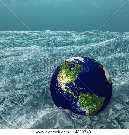 Earth floats in US Currency sea 3D Render Elements of this image furnished by NASA
