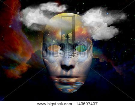 Mask with surreal painting in the space 3D Render Elements of this image furnished by NASA