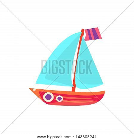 Sailing Toy Boat With Blue Sails Bright Color Icon In Simple Childish Style Isolated On White Background
