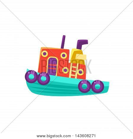 Small Steamer Toy Boat Bright Color Icon In Simple Childish Style Isolated On White Background