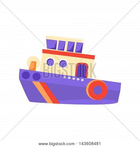 Partol Toy Boat Bright Color Icon In Simple Childish Style Isolated On White Background