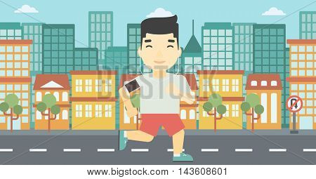 An asian man running with earphones and armband for smartphone. Man listening to music during running. Man running on a city background. Vector flat design illustration. Horizontal layout.