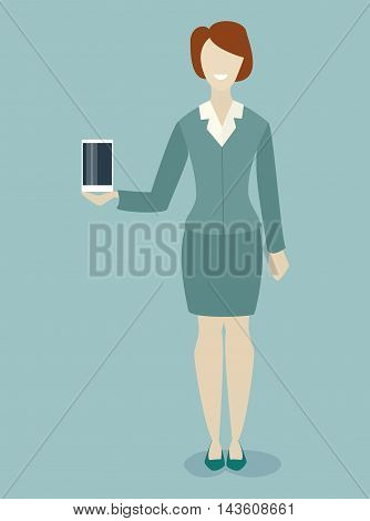 Caucasian woman demonstrates a new phone tablet product