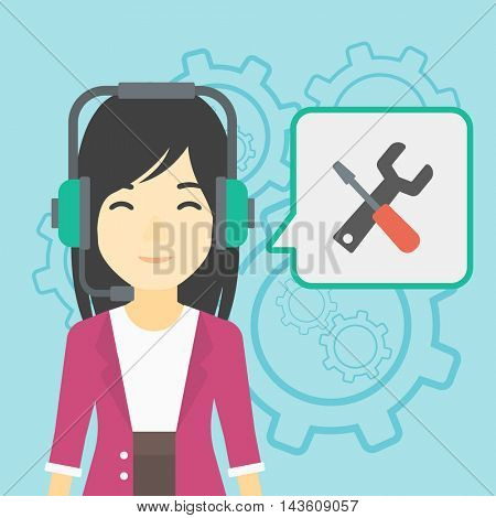 An asian operator of technical support wearing headphone set. Technical support operator and speech square with screwdriver and wrench. Vector flat design illustration. Square layout.