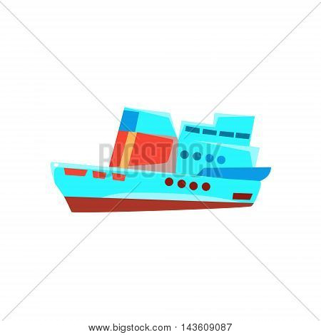 Cruise Liner Toy Boat Bright Color Icon In Simple Childish Style Isolated On White Background
