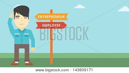 An asian young man standing at road sign with two career pathways. Man choosing career pathway. Man making a decision of his career pathway. Vector flat design illustration. Horizontal layout.