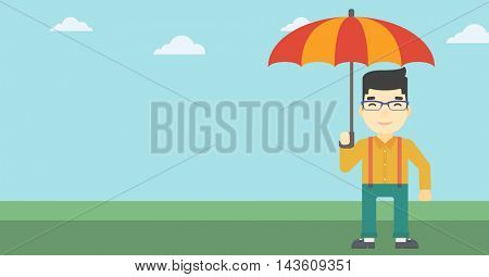 An asian businessman standing with open umbrella on the background of blue sky. Businessman under open umbrella. Happy man with umbrella. Vector flat design illustration. Horizontal layout.