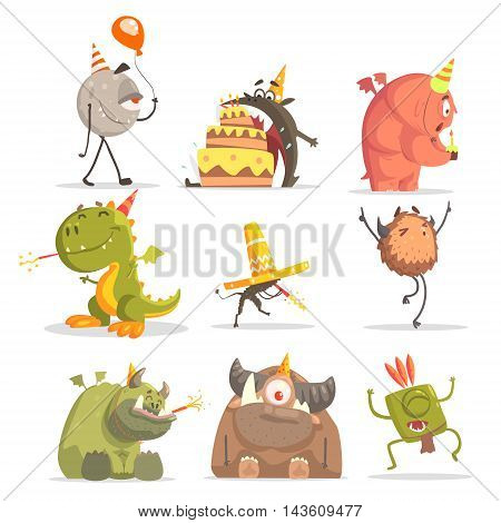 Monsters On Birthday Party In Funny Situations.. Funky Creatures Colorful Characters With Party Attributes On Blue Background.