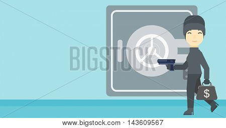 An asian  burglar in mask near the big safe door. Burglar holding hand gun and a bag with dollar sign. Thief stealing money. Vector flat design illustration. Horizontal layout.