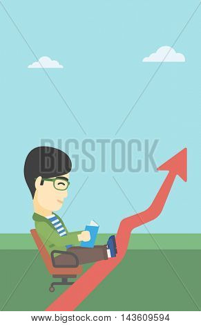 An asian businessman sitting in a chair and reading a book while his legs lay on an uprising arrow. Business study concept. Vector flat design illustration. Vertical layout.