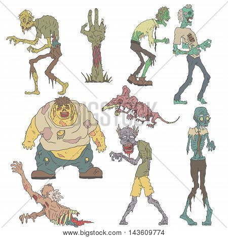 Creepy Zombies Of Men And Pets With Skin Melting Off Bones Outlined Hand Drawn Illustrations Isolated On White Background