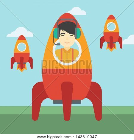 An asian businessman in headphones flying in the rocket. Successful business start up concept. Business rocket taking off. Vector flat design illustration. Square layout.