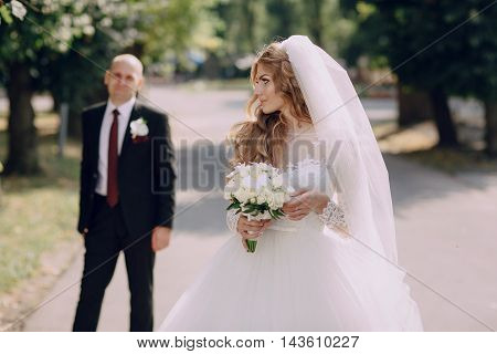 wonderful wedding curly bride and her handsome husband