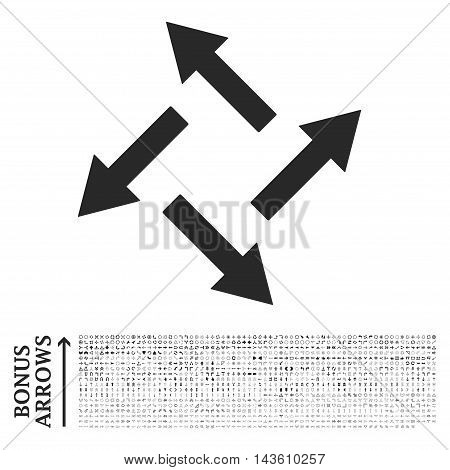 Centrifugal Arrows icon with 1200 bonus arrow and direction pictograms. Glyph illustration style is flat iconic symbols, gray color, white background.