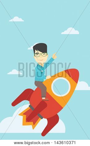 An asian businessman flying on the business start up rocket and pointing his forefinger up. Successful business start up concept. Vector flat design illustration. Vertical layout.