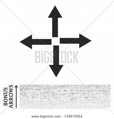Expand Arrows icon with 1200 bonus arrow and direction pictograms. Glyph illustration style is flat iconic symbols, gray color, white background.