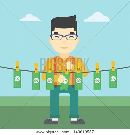 An asian young businessman drying banknotes on the clothesline on the background of blue sky. Man loundering money. Vector flat design illustration. Square layout.