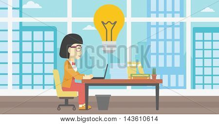 An asian  young business woman working on her laptop in office and a big idea bulb above the table. Successful business idea concept. Vector flat design illustration. Horizontal layout.