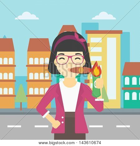 An asian business woman lighting a cigar with dollar bill. Successful business woman smoking cigar on the background of modern city. Vector flat design illustration. Square layout.