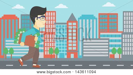 An asian  young businessman walking in the city with suitcase full of money. Vector flat design illustration. Horizontal layout.