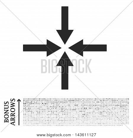 Impact Arrows icon with 1200 bonus arrow and direction pictograms. Glyph illustration style is flat iconic symbols, gray color, white background.